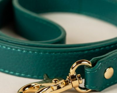 DESIGNER LEATHER DOG LEAD Alpine Green
