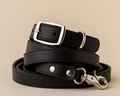 DESIGNER LEATHER DOG SET Black
